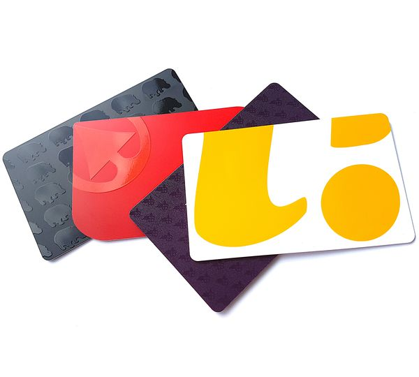 Oomph plastic cards, featuring spot-on finish
