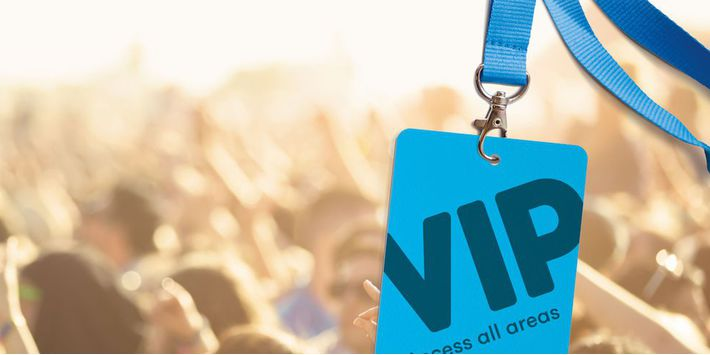 Festival VIP event badges and custom lanyards