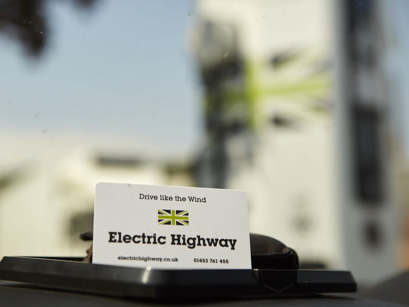 Ecotricity printed RFID smart card on the dashboard made by oomph