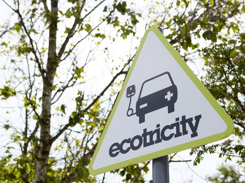 Ecotricity ChargePoint sign at Motorway Services