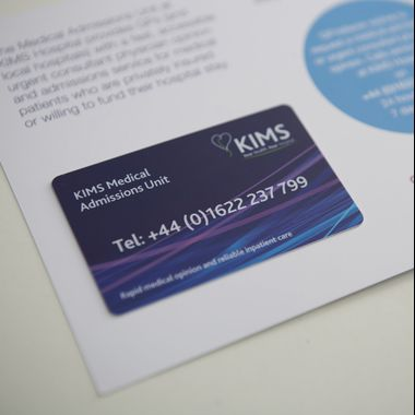 KIMS promotional plastic card and carrier