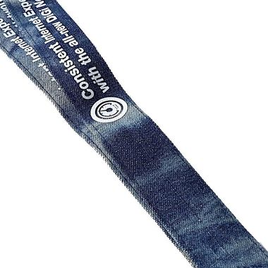 Indigo denim lanyards with white print from Made by Oomph