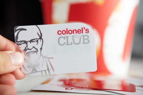 KFC club loyalty card with curved edge