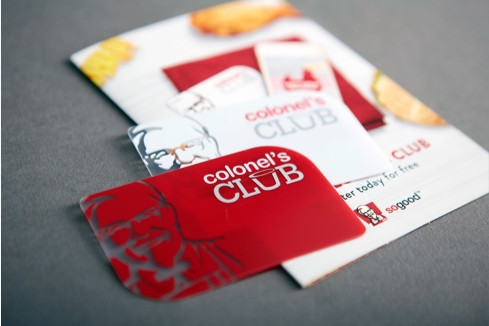 KFC club loyalty card attached to flyer