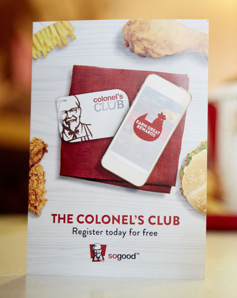 KFC club loyalty card and app instructions card
