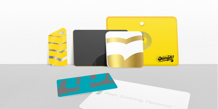 Made by Oomph plastic cards shapes and size range